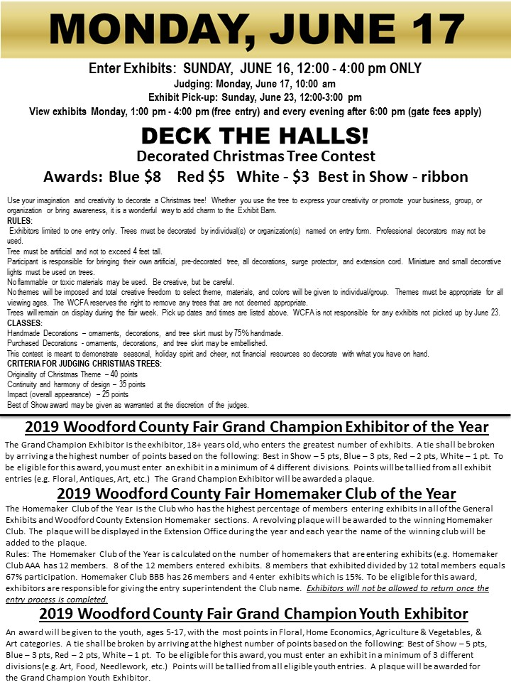 Woodford County Fair - Deck the Halls and Exhibitor Awards